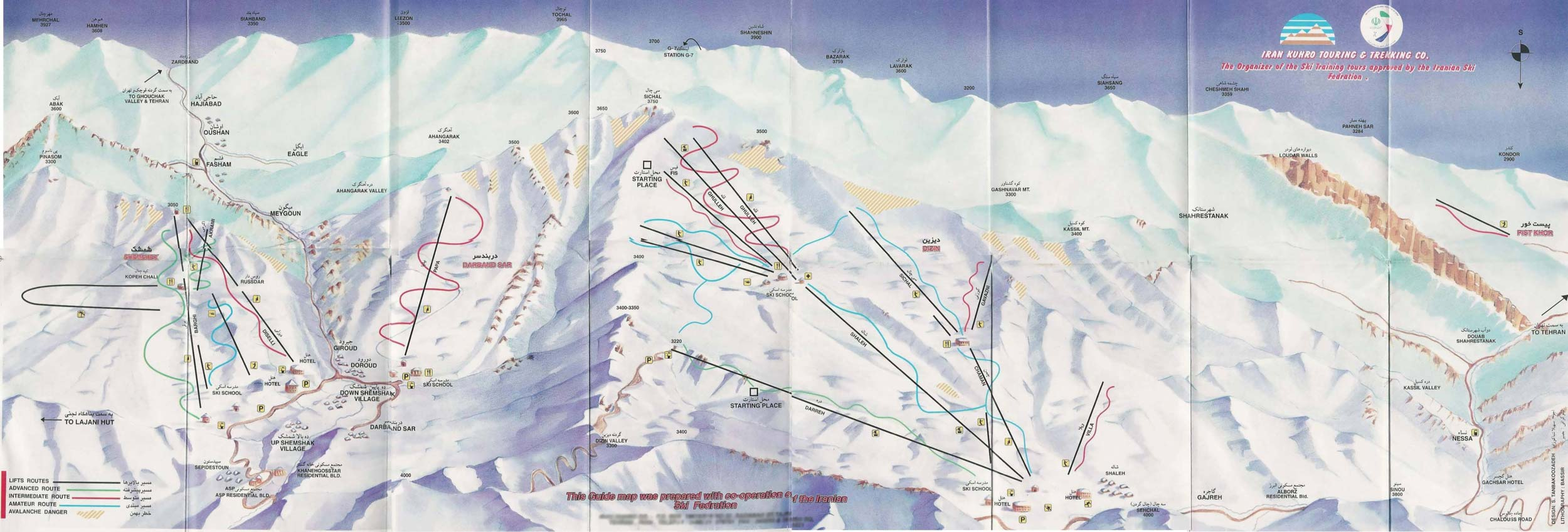 Iranian Ski Resorts Map